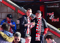 Lincoln City fans enjoy the pre-match atmosphere<br /> <br /> Photographer Andrew Vaughan/CameraSport<br /> <br /> The EFL Sky Bet League Two Play Off Second Leg - Exeter City v Lincoln City - Thursday 17th May 2018 - St James Park - Exeter<br /> <br /> World Copyright &copy; 2018 CameraSport. All rights reserved. 43 Linden Ave. Countesthorpe. Leicester. England. LE8 5PG - Tel: +44 (0) 116 277 4147 - admin@camerasport.com - www.camerasport.com