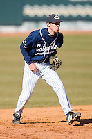 Shortstop Brett Underwood #1 of the Catawba Indians on defense versus the Shippensburg Red Raiders on February 14, 2010 in Salisbury, North Carolina.  Photo by Brian Westerholt / Four Seam Images