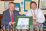 GIFT: German Ambassador to Ireland Busso von Alvensleben receives a gift from Mayor of Tralee, Cllr Terry O'Brien during a visit to the town last Thursday.