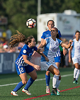 Allston, MA - Saturday August 19, 2017: Allysha Chapman, Alex Morgan during a regular season National Women's Soccer League (NWSL) match between the Boston Breakers (blue) and the Orlando Pride (white/light blue) at Jordan Field.