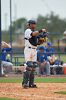 GCL Yankees East catcher Hemmanuel Rosario (11) during the second game of a doubleheader against the GCL Blue Jays on July 24, 2017 at the Yankees Minor League Complex in Tampa, Florida.  GCL Yankees East defeated the GCL Blue Jays 7-3.  (Mike Janes/Four Seam Images)