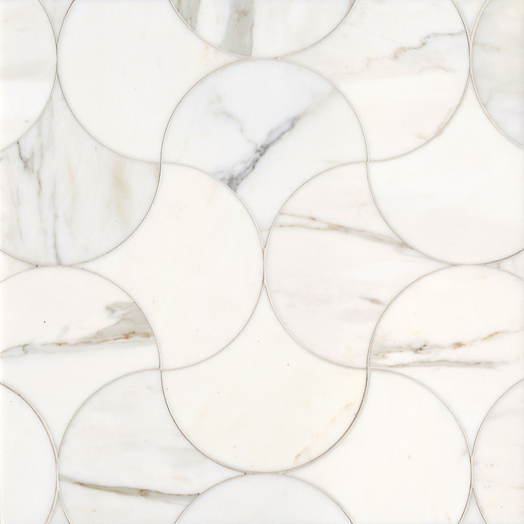 Elodie, a stone waterjet mosaic, show in polished Calacatta Gold, is part of the Semplice® collection for New Ravenna.