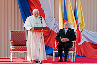 Pope Benedict XVI gives a speech during the welcome ceremony at the Prague Airport, Czech Republic, 26 September 2009.