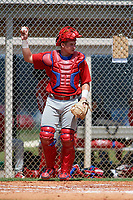 GCL Phillies catcher Kipp Moore (3) during a game against the GCL Tigers East on July 25, 2017 at TigerTown in Lakeland, Florida.  GCL Phillies defeated the GCL Tigers East 4-1.  (Mike Janes/Four Seam Images)