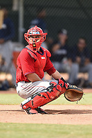 Los Angeles Angels of Anaheim catcher Michael Strentz (10) during an Instructional League game against the Milwaukee Brewers on October 9, 2014 at Tempe Diablo Stadium Complex in Tempe, Arizona.  (Mike Janes/Four Seam Images)