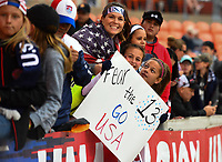 Houston, TX - Sunday April 8, 2018: USA supporters during an International friendly match versus the women's National teams of the United States (USA) and Mexico (MEX) at BBVA Compass Stadium.