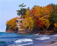 Pictured Rocks National Lakeshore, MI<br /> Shore of Lake Superior &amp; cliffs of Chapel Rock with forest in fall color