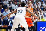 Real Madrid's player Jeffery Taylor and Valencia Basket's Peterson during the first match of the Semi Finals of Liga Endesa Playoff at Barclaycard Center in Madrid. June 02. 2016. (ALTERPHOTOS/Borja B.Hojas)