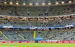 Solna 2015-09-08 Fotboll EM-kval , Sverige - &Ouml;sterrike :  <br /> Vy &ouml;ver Friends Arena med flaggor utlagda p&aring; stolarna p&aring; l&auml;ktarna inf&ouml;r matchen mellan Sverige och &Ouml;sterrike <br /> (Photo: Kenta J&ouml;nsson) Keywords:  Sweden Sverige Solna Stockholm Friends Arena EM Kval EM-kval UEFA Euro European 2016 Qualifying Group Grupp G &Ouml;sterrike Austria inomhus interi&ouml;r interior flagga flaggor supporter fans publik supporters