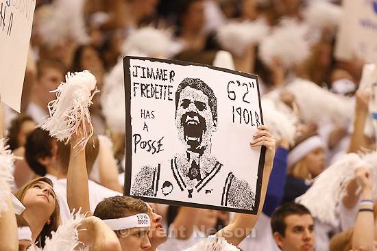Trent Nelson  |  The Salt Lake Tribune. in the second half at BYU vs. Utah, college basketball in Provo, Utah, Saturday, February 12, 2011. BYU won 72-59. jimmer fredette has a posse