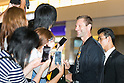 Tom Hanks and Aaron Eckhart arrive in Japan
