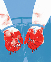 Handcuffed man with faces on his fingernails and blood dripping from his hands ExclusiveImage