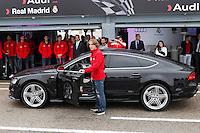 Real Madrid player Luka Modric participates and receives new Audi during the presentation of Real Madrid's new cars made by Audi at the Jarama racetrack on November 8, 2012 in Madrid, Spain.(ALTERPHOTOS/Harry S. Stamper) .<br />