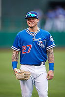Oklahoma City Dodgers right fielder Alex Verdugo (27) during warmups before a game against the Colorado Springs Sky Sox on June 2, 2017 at Chickasaw Bricktown Ballpark in Oklahoma City, Oklahoma.  Colorado Springs defeated Oklahoma City 1-0 in ten innings.  (Mike Janes/Four Seam Images)