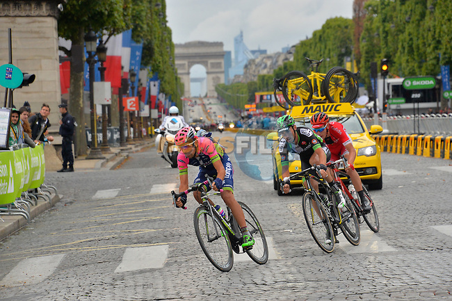 Nelson OLIVEIRA (POR) Lampre-Merida, Kenneth VAN BILSEN (BEL) Cofidis and Jean-Luc PERICHON (FRA) Bretagne-Seche out front on the Champs Elysees in Paris during Stage 21 of the 2015 Tour de France running 109.5km from Sevres to Paris - Champs Elysees, France. 26th July 2015.<br /> Photo: ASO/B.Bade/Newsfile
