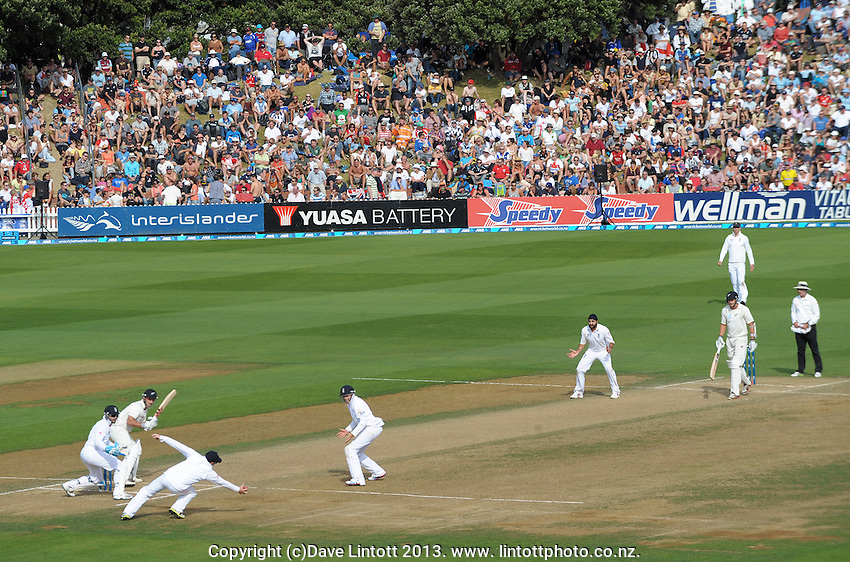 Ian Bell catches Hamish Rutherford off Monty Panesar during day three of the 2nd cricket test match between the New Zealand Black Caps and England at the Hawkins Basin Reserve, Wellington, New Zealand on Saturday, 16 March 2013. Photo: Dave Lintott / lintottphoto.co.nz
