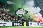 ***BETALBILD***  <br /> Stockholm 2015-09-27 Fotboll Allsvenskan Hammarby IF - AIK :  <br /> Hammarbys supportrar med flaggor och gr&ouml;n r&ouml;k under matchen mellan Hammarby IF och AIK <br /> (Foto: Kenta J&ouml;nsson) Nyckelord:  Fotboll Allsvenskan Tele2 Arena Hammarby HIF Bajen AIK Derby supporter fans publik supporters