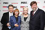 """Matthew Penn, Jane Anderson, Glenn Close and Oskar Eustis attend the Opening Night Celebration for """"Mother of the Maid"""" on October 18, 2018 at the Public Theatre in New York City."""