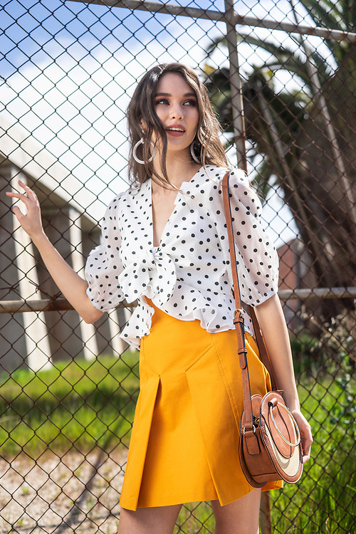 Sunday Mail Fashion with Mirella, Polka dots on location at Pt Adelaide, model Lily Maria.  Photo: Nick Clayton