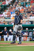 New York Yankees catcher Austin Romine (28) during a Grapefruit League Spring Training game against the Detroit Tigers on February 27, 2019 at Publix Field at Joker Marchant Stadium in Lakeland, Florida.  Yankees defeated the Tigers 10-4 as the game was called after the sixth inning due to rain.  (Mike Janes/Four Seam Images)