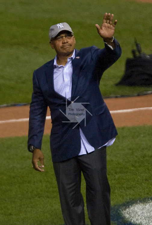 071309tvreggiejackson.Reggie Jackson waves to the crowd after he was introduced on the field in-between Home Run Derby contestants..BND/TIM VIZER