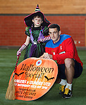 Lee Wallace promoting Halloween kids activities at next weekend's Rangers v Dundee Utd match with young fan Elizabeth Bain
