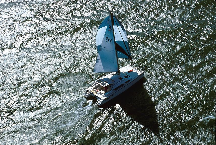A catamaran sailboat on lake Ontario, 05-1030. New York United States Lake Ontario.