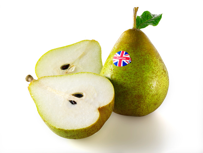 Fresh British comice pears whole and cut
