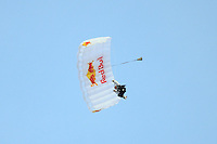 A parachutist jumps into Red Bull Arena as part of pre-game festivities prior to a Major League Soccer match between the New York Red Bulls and the Chicago Fire at Red Bull Arena in Harrison, NJ, on March 27, 2010. The Red Bulls defeated the Fire 1-0.
