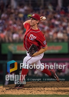 6 August 2016: Washington Nationals starting pitcher Stephen Strasburg on the mound against the San Francisco Giants at Nationals Park in Washington, DC. The Giants defeated the Nationals 7-1 to even their series at one game apiece. Mandatory Credit: Ed Wolfstein Photo *** RAW (NEF) Image File Available ***
