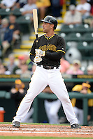 Outfielder Andrew Lambo (57) of the Pittsburgh Pirates during a spring training game against the New York Yankees on February 26, 2014 at McKechnie Field in Bradenton, Florida.  Pittsburgh defeated New York 6-5.  (Mike Janes/Four Seam Images)