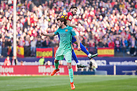 Sergi Roberto of Futbol Club Barcelona competes for the ball with Yannick Ferreira Carrasco of Atletico de Madrid  during the match of Spanish La Liga between Atletico de Madrid and Futbol Club Barcelona at Vicente Calderon Stadium in Madrid, Spain. February 26, 2017. (ALTERPHOTOS) /NortEPhoto.com