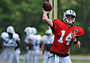 Sam Darnold #14 of the New York Jets throws a pass during Training Camp at the Atlantic Health Jets Training Center in Florham Park, NJ on Tuesday, Aug. 7, 2018.