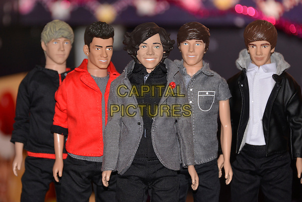LONDON, ENGLAND - NOVEMBER 06: One Direction Dolls - Niall Horan, Zayn Malik, Harry Styles, Louis Tomlinson, Liam Payne (manufactured by Vivid, retailing at 16.99 pounds each), at a media event at St Mary's Church in Marylebone on November 6, 2013 in London, England. The Toy Retailers Association's Dream Toys 2013 is an independent list of the predicted Christmas best-selling gifts for children.<br /> CAP/PL<br /> &copy;Phil Loftus/Capital Pictures