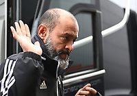 1st January 2020; Vicarage Road, Watford, Hertfordshire, England; English Premier League Football, Watford versus Wolverhampton Wanderers; Nuno Espirito Santo Manager for Wolverhampton Wanderers acknowledges fans on arrival at Vicarage Road - Strictly Editorial Use Only. No use with unauthorized audio, video, data, fixture lists, club/league logos or 'live' services. Online in-match use limited to 120 images, no video emulation. No use in betting, games or single club/league/player publications