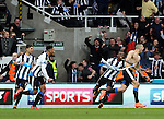 Newcastle United's Aleksandar Mitrovic, right, celebrates his goal during the Barclays Premier League match at St James' Park Stadium. Photo credit should read: Scott Heppell/Sportimage