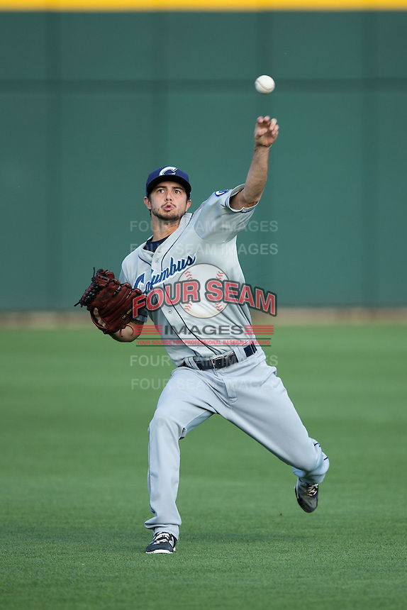 Columbus Clippers starting pitcher Ryan Merritt (12) warms up in the outfield prior to the game against the Charlotte Knights at BB&T BallPark on May 3, 2016 in Charlotte, North Carolina.  The Clippers defeated the Knights 8-3.  (Brian Westerholt/Four Seam Images)