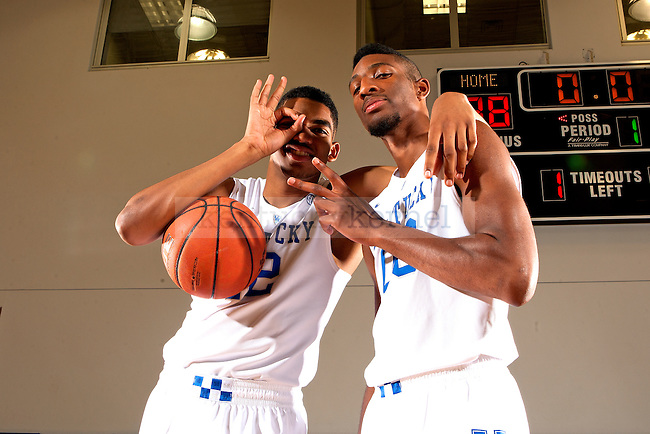 Centers Karl Towns and Marcus Lee goof off during photo day 2014 in Lexington, Ky.,on Thursday, September 4, 2014. Photo by Michael Reaves | Staff