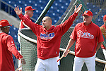 10/17/08 1:28:22 PM -- Philadelphia, PA, U.S.A. -- Philadelphia Phillies Shane Victorino warms up before practice October 17, 2008 at Citizen's Bank Park in Philadelphia, Pennsylvania. Victorino showed the team that cast him aside that it made a costly error. The Philadelphia outfielder, who spent six years in the L.A. Dodgers' farm system, used key hits in pressure situations, including a triple, Game 4 eighth-inning homer and six RBI during the NLCS, to help the Phillies beat the Dodgers and reach their first World Series since 1993. -- ...Photo by William Thomas Cain, Freelance.
