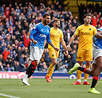 14.09.2019 Rangers v Livingston: Connor Goldson roars with delight as James Tavernier's free kick sails in