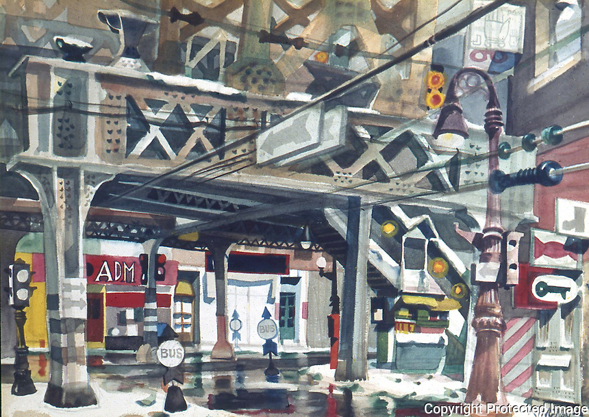 American Painters:  Dong Kingman--The El and Snow, 1946.  Watercolor.  Whitney Museum.