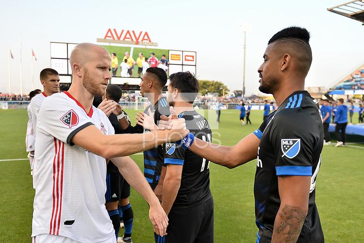 San Jose, CA - Saturday August 18, 2018: Michael Bradley, Anibal Godoy during a Major League Soccer (MLS) match between the San Jose Earthquakes and Toronto FC at Avaya Stadium.