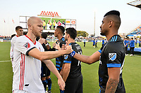 San Jose, CA - Saturday August 18, 2018: Michael Bradley, Anibal Godoy during a Major League Soccer (MLS) match between the San Jose Earthquakes and Toronto FC at Avaya Stadium.