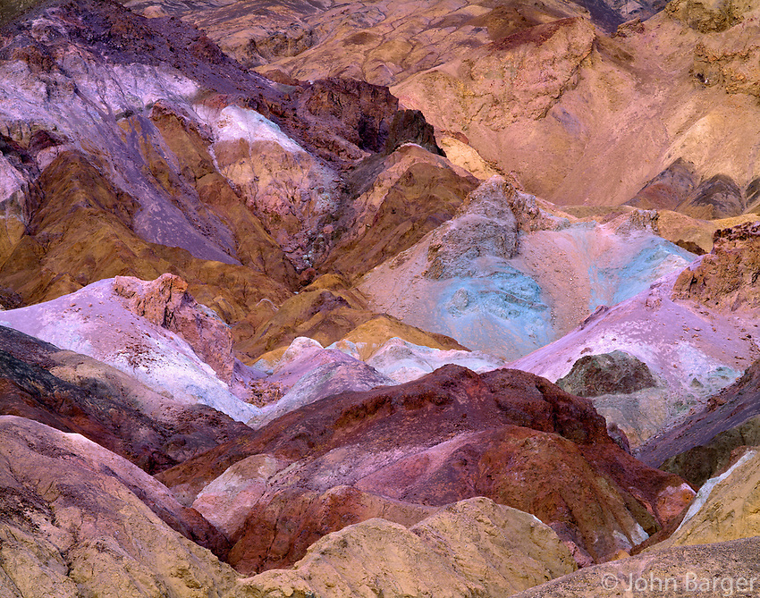 CADDV_008 - Layers of colored rock at Artist's Palette are produced by oxidation of various minerals, Death Valley National Park, California, USA --- (4x5 inch original, File size: 7625x6000, 131mb uncompressed).