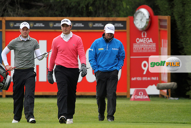 Danny Willett (ENG), Julien Quesne (FRA) and Paul Lawrie (SCO) on the 9th on Day 3 of the Omega European Masters 2012, Golf Club Crans-Sur-Sierre, Crans Montana, Switzerland, 01/09/12...(Photo Jenny Matthews/www.golffile.ie)