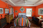 Upper-level bedroom at 10 LaSalle Street in the tiny village of Elsah, Illinois. The house is within walking distance of the Mississippi River along the Great River Road north of Alton. <br /> Photo by Tim Vizer