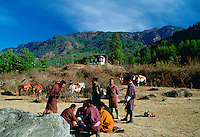Horsemen taking a break, Bhutan