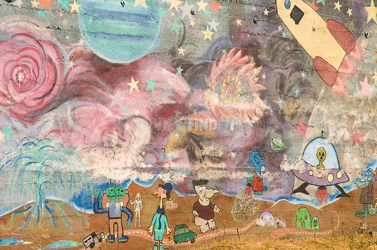 Childrens spaceship wall mural, Goldendale, Washington