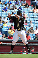 Omaha Storm Chasers first baseman Matt Fields (15) at bat during a game against the Nashville Sounds on May 20, 2014 at Herschel Greer Stadium in Nashville, Tennessee.  Omaha defeated Nashville 4-1.  (Mike Janes/Four Seam Images)
