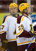 Brian Schack (University of Minnesota - Lino Lakes, MN) and Ryan Stoa (University of Minnesota - Bloomington, MN) warm up. The University of Minnesota Golden Gophers defeated the Michigan State University Spartans 5-4 on Friday, November 24, 2006 at Mariucci Arena in Minneapolis, Minnesota, as part of the College Hockey Showcase.